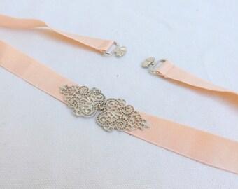 Light peach belt. Elastic waist belt. Dress belt. Bridal belt. Bridesmaids belt. Stretch belt. Silver filigree belt.