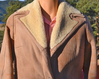 vintage 70s brown SUEDE leather jacket coat abercrombie fitch shearling cowboy Medium Small 60s