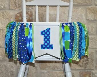 Blue, aqua & green birthday rag banner, highchair rag garland, First birthday decor, cake smash photo prop, I am one 1