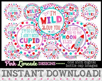 """I Don't Need Cupid - INSTANT DOWNLOAD 1"""" Bottle Cap Images 4x6 - 885"""