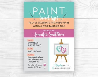 Paint and Sip Party Invites, Wine and Painting Party, Canvas Party Invites, Bachelorette Party, Paint and Sip, DIY, Printable