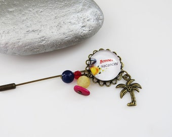 "for the Mistress ""happy holidays"" brooch pin, decor red yellow and blue"