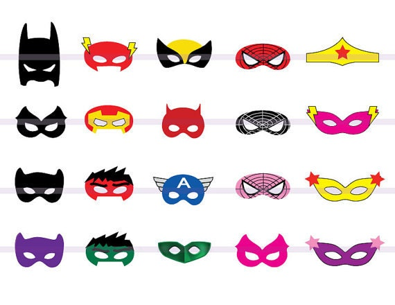 Instand DL 20 SUPERHERO Masks Cut-Out Birthday Party