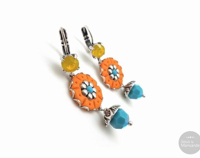 Featured listing image: Boucles d'oreilles bohème orange strassé