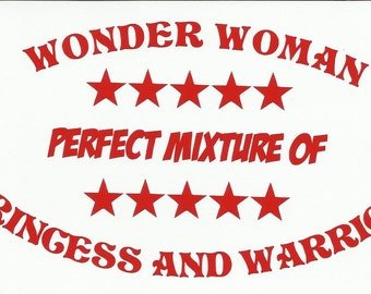 Wonder Woman Warrior and Princess Vinyl Vehicle Jeep Decal
