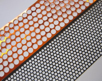 2 yards POLKA DOT stencil material - scrim - 5mm and 10mm holes - sequin waste - orange and black - 1 yard each in TWO sizes