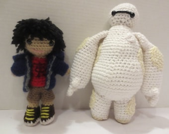 Hiro and Baymax Big Hero 6 crochet dolls