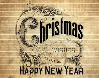INSTANT DOWNLOAD - Kerstmis wensen gelukkig Nieuwjaar - overdracht aan meubels in Shabby chique stijl #2 afdrukken