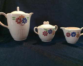"Hand painted porcelain Luneville ""agnes"" coffee set"