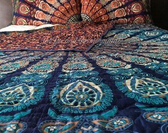 Double-sided mandala tapestry quilt made with two different mandala patterns