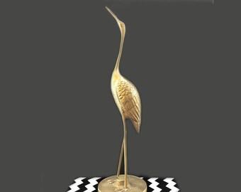 Vintage Brass Crane// Stork Sculpture, Mid Centry Brass Crane// Stork Cast, Vintage Brass Stork//Crane Figurine