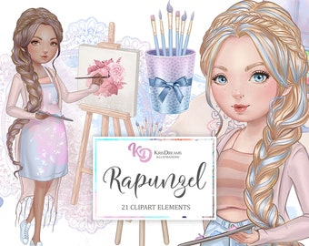 Rapunzel Clipart, Artist Clipart, Artsy, Craftsy, Arts and Crafts, Woman Illustration, Paint Brush, Canvas, Easel, Watercolor, Paint Tubes