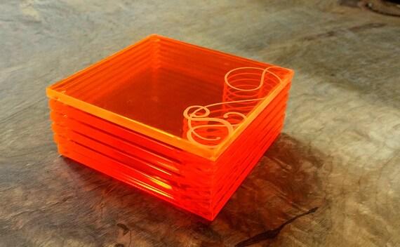 Personalized Coaster Set - Acrylic Coaster Set - Monogram Coasters - Orange Coasters - Wedding Coasters - Wedding Party Coasters