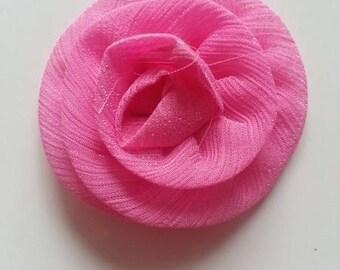 rosette fleur rose fuchsia en tissu   55mm