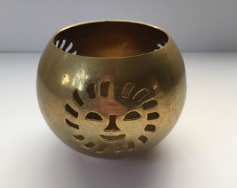 Brass Candle Holder with Sun. Handmade in India