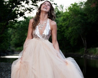 Star of Midnight Sequin Halter Ballgown