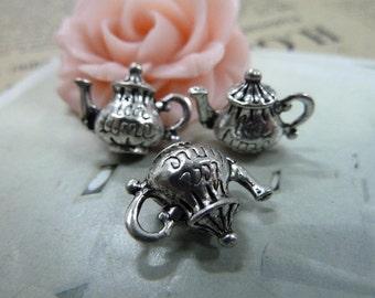 20 3D Teapot Charms Antique Silver Tone (YT292)