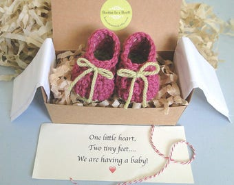 Grandparent Pregnancy Announcement, Baby Girl Reveal, Gender Reveal,  Custom Message,  BOOTIES IN A BOX®, We're Having a Girl, Ready To Ship