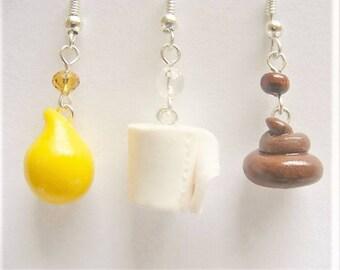 Poop, pee and toilet paper earrings, poo earrings, toilet roll earrings, toilet jewelry, poop jewelry Loo roll earrings loo paper bf jewelry
