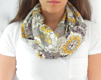 Grey, Purple, and Yellow Floral Print Infinity Scarf