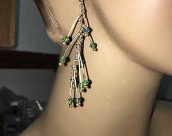 "Silver and Swarovski crystal Earrings green blue ""Sticks"" fine silver earrings cascading"