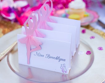 Birthday Place Cards - Place Setting Card - Ballerina Party Place Cards - Tent Place Cards - Girl Party Supplies - Ballerina Party Decor