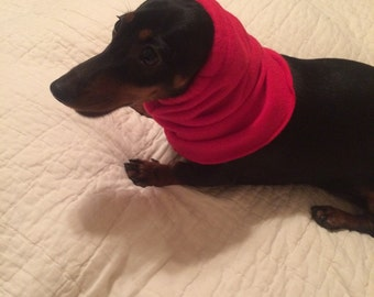 Dog Fleece Snood Red Fabric comes in Small, Medium, Large & Xlarge FREE SHIPPING