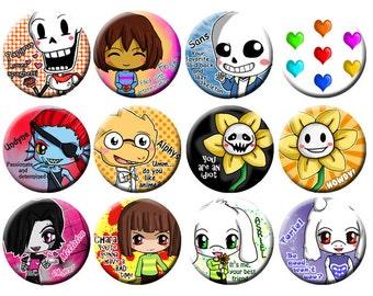 Undertale Chibi Pinback Button Set - Undertale Buttons - Sans, Papyrus, Frisk, Chara, Flowey, Mettaton, Alphys, Undyne, Asriel, Toriel