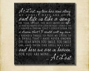 At Last Lyrics - My love has come along - Canvas, Print, Poster, Greeting Card, Etta James- love marriage engagement wedding word art print