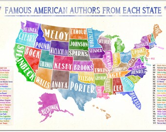 Famous American Authors From Each State Water Color Literary Art Print. Classroom, Library or Office US Map Poster