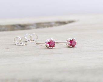 July Birthstone Earrings Ruby Stud Earrings July Birthday Tiny Ruby Earrings Gemstone Stud Earrings Dainty Ruby Earrings Small Stud Earrings