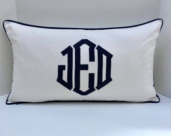 Monogrammed Appliqué Pillow Cover