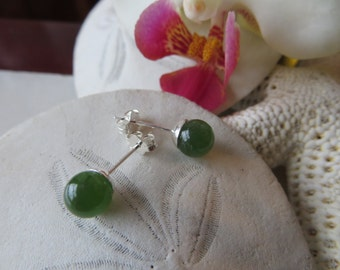 Nephrite Jade Earrings, Jade Studs, Jade Earrings, Nephrite Jade Studs, Semi Precious Gemstone Posts, Sterling Silver Earrings, Silver Studs