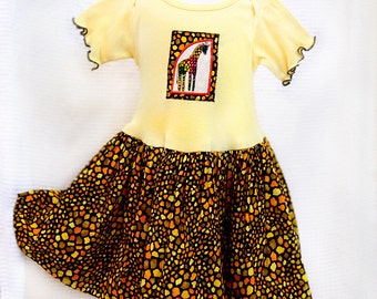 Giraffe Toddler Girl Clothes Appliqué Yellow Toddler Dress Little Girl Giraffe Dress Safari Birthday Outfit Girl Toddler Gift 12m-4T African