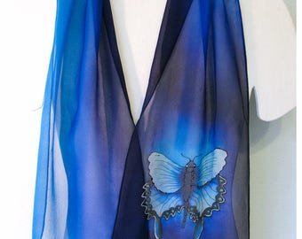 "Butterfly Silk Scarf. Blue Silk Scarf. 10""x58"" chiffon. Painted silk scarf~Silk Painted Scarf~Hand painted Silk Scarves~Silk Scarf handpaint"