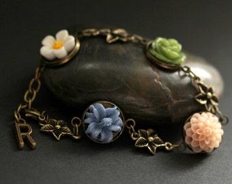 Bronze Flower Bracelet with Personalized Charm. White, Peach, Green, and Blue Flower Bracelet in Bronze. Handmade Flower Bracelet.