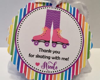 Roller Skating Birthday Party Favor Tags - Roller Skate Party Favors - Skate Party Favor Tags Personalized ( Set of 12)