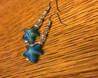 Seaside Starfish Earrings ! Glass beads, handcrafted, great gift!