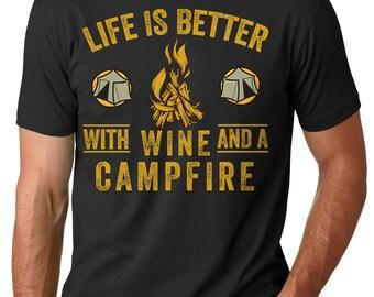 Camping T-shirt Wine and campfire T-shirt Summer camp