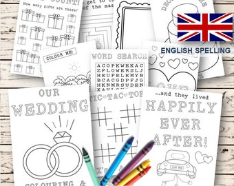 Kids Wedding colouring & activity book-  INSTANT DOWNLOAD - Pdf Reception Game,Colouring pages,Printable colouring activity Uk Spelling