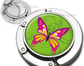 Pink Lime Green Butterfly Foldable Purse Hook Bag Hanger Lipstick Compact Mirror