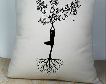 Yoga Tree Pillow Cover Natural Color Canvas 18x18 Inch Made to Order
