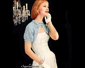 Vintage Evening Shrug crochet pattern in PDF instant download version