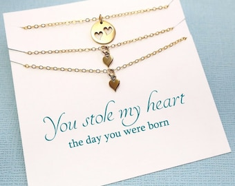 Twins Mother Daughter Jewelry Set | Heart Necklace Gift Set for Mothers Day, Gift for Mom, Daughter Gift, Mom Gift, Mom Necklace | MD02