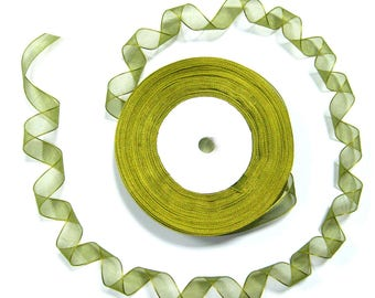Olive green 12 mm sold per 10 meters wide organza Ribbon