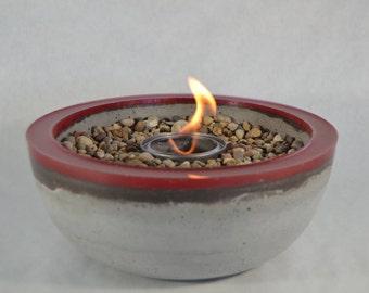 Concrete Fire Bowl - Red Rim | Fire Pit | Outdoor & Indoor Patio Decor | Color Rimmed Bowl | Fire Gel | Zen Garden | Tabletop Accent