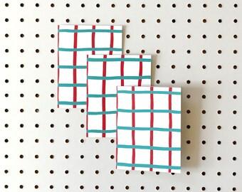 Screenprinted Notecards - Grid Design