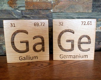 Periodic table etsy wooden periodic table element tiles in white oak wood periodic table wooden tiles urtaz Image collections