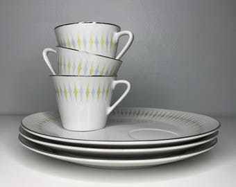 set of three vintage mid century snack plates and cups