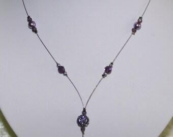 Purple bridal necklace
